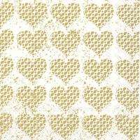 Servietten 33x33 cm - FANCY HEARTS gold