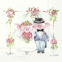 Servietten 33x33 cm - PIGGY WEDDING