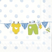 Servietten 33x33 cm - BABY IS COMING light blue