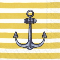 Servietten 33x33 cm - SAILOR´S ANCHOR yellow