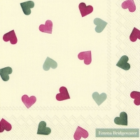 Servietten 33x33 cm - PINK AND GREEN HEARTS