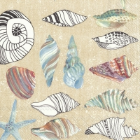 Servietten 33x33 cm - CLAMS IN THE SAND cream