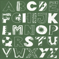 Servietten 33x33 cm - ALPHABET ABC green
