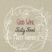 Servietten 33x33 cm - GOOD WINE TASTY FOOD linen
