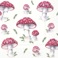 Servietten 33x33 cm - FAIRY TALE MUSHROOMS