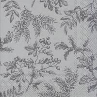 Servietten 33x33 cm - SILENTS PLANTS silver
