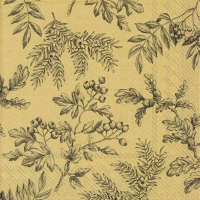 Servietten 33x33 cm - SILENTS PLANTS gold black