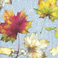 Servietten 33x33 cm - COUNTRY LEAVES light blue