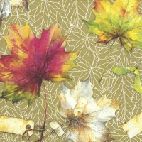 Servietten 33x33 cm - COUNTRY LEAVES ochre