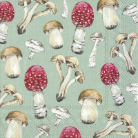 Servietten 33x33 cm - COUNTRY MUSHROOMS green