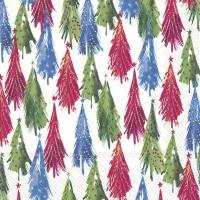 Servietten 33x33 cm - COLOURFUL CHRISTMAS TREES