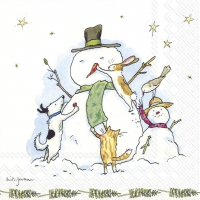 Servietten 33x33 cm - SNOWMAN WITH FRIENDS