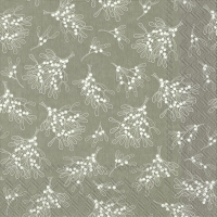 Servietten 33x33 cm - MISTLETOE ALLOVER grey
