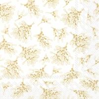 Servietten 33x33 cm - MISTLETOE ALLOVER white gold
