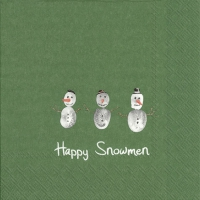 Servietten 33x33 cm - HAPPY SNOWMEN green