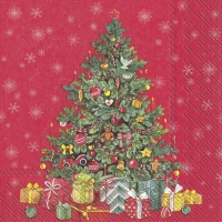 Servietten 33x33 cm - FESTIVE CHRISTMAS TREE red