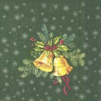 Servietten 33x33 cm - FESTIVE CHRISTMAS BELLS green