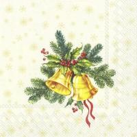 Servietten 33x33 cm - FESTIVE CHRISTMAS BELLS cream