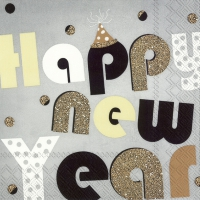 Servietten 33x33 cm - PARTY YEAR grey