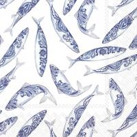 Servietten 33x33 cm - DECORATIVE FISH white