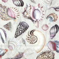 Servietten 33x33 cm - SHELLS OF THE SEA nature