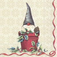 Servietten 33x33 cm - TOMTE IN THE BUCKET cream