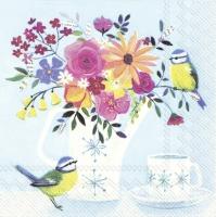 Servietten 33x33 cm - POT FLOWERS light blue