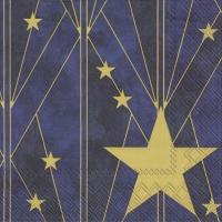 Servietten 33x33 cm - ARTDECO BIG STAR blue