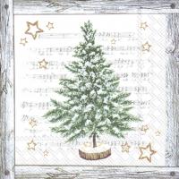Servietten 33x33 cm - WHITE XMAS TREE grey