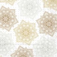 Servietten 33x33 cm - ORNAMENT white gold
