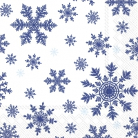 Servietten 33x33 cm - FALLING SNOWFLAKES white blue
