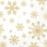 Servietten 33x33 cm - FALLING SNOWFLAKES white gold