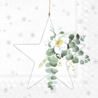 Servietten 33x33 cm - WHITE XMAS BIG STAR wh. silver