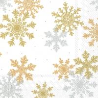 Servietten 33x33 cm - CRYSTAL CLEAR white silver