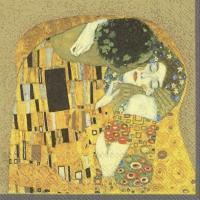 Servietten 33x33 cm - Der Kuss Gold