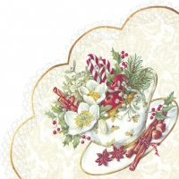Servietten - Rund CUP OF CHRISTMAS white