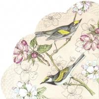 Servietten - Rund - BIRDS SYMPHONY apricot