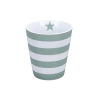 Porzellan-Becher -  Stripes  Dusty Green