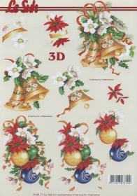 3D Bogen Format A4 Weihnachtsglocken + Kugeln