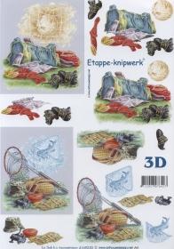 3D Bogen Format A4 Fussball+Angeln
