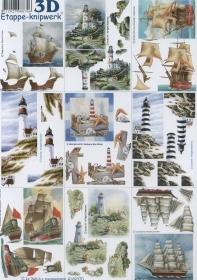 3D Bogen Leuchtturm+Schiffe klein Format A4