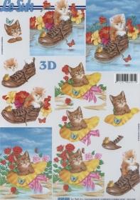 3D Bogen Katze im Schuh und Hut Format A4