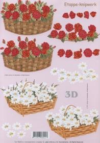 3D Bogen Blumenkorb rot/weiß