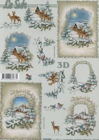 3D Bogen Rehe im Wald Format A4
