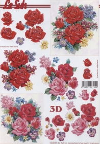3D Bogen Rosenstrauß Format A4