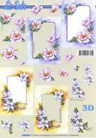 3D Bogen Format A4 Blumenrahmen