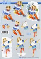 3D Bogen Mädchen mit Rollschuh Format A4