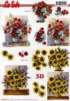 3D Bogen Sonnenblumen und Mohnblumen - Format A4