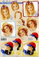 3D Bogen Format A4 - Frau mit Hut