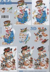 3D Bogen 2x Schneemänner Format A4